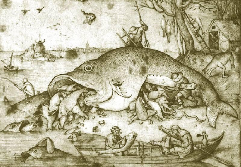 большая рыба пожарает мелкую